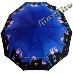 Зонт ZEST, полуавтомат серия 10 спиц, расц Коты на крыше