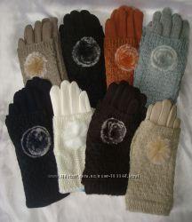 Новинка. Теплые перчатки с довязом и пушком . Разные цвета в наличии