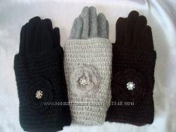 Кашемировые перчатки с довязом и ажурным цветком. Черные, коричневые