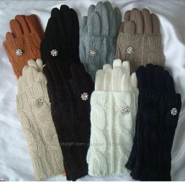 Теплые перчатки с довязом косичка. Цена 150 грн.