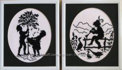 Картинки чёрно-белые  Пастушок  и Дети