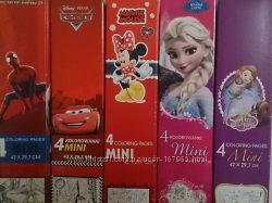 Disney Раскраски 4 в 1 Тачки, Человек паук, Тачки, Minni Mouse, Frozen,