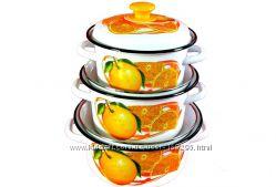 Набор эмалированных кастрюль Апельсиновый сок
