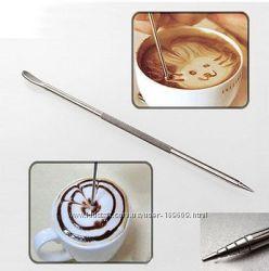 Палочка из нержавеющей стали для рисования на капучино. Беспл. дост. 150руб