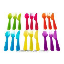Яркие безопасные наборы посуды для детей и врослых Kalas, IKEA. Дешево