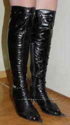 Лаковые деми сапоги-ботфорты 37 размер, Коричневые деми сапоги