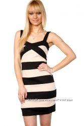 Бандажное бежево-черное вечернее платье