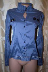 Шикарная женская синяя блузка и Вязаная кофточка