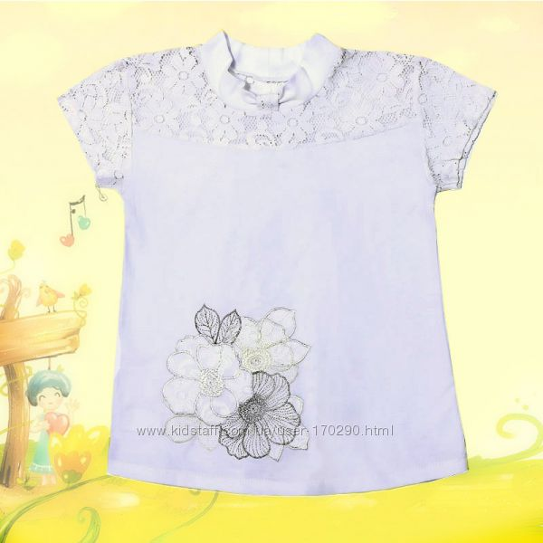 Нарядная школьная блузка с гипюром. Размеры 122-140