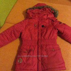 теплая зимняя куртка на флисе на 5-6 лет