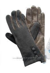 Размеры 6, 5 и 8 Перчатки из замши и кожи серого цвета на утеплителе