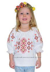Красивая, нарядная вышиванка для девочки с рукавом три четверти