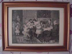 Первый день рождения -старинная гравюра на подарок