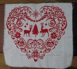 Вышивка крестиком Рождественское сердце ручная работа