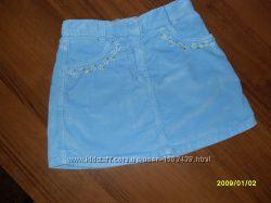 Голубая велюровая юбочка  для девочки 6-8 лет, Италия