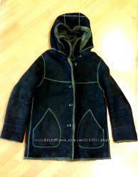 Дубленка замшевая женская мягкая натуральная черного цвета размер S 44