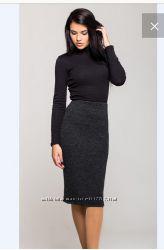 Новая теплая черная трикотажная юбка, размер С, М, Л, ХС