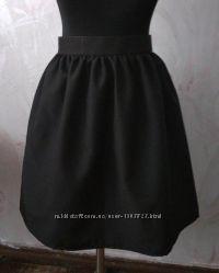 Новая черная юбка в сборку, размер С, М, Л, ХС, ХЛ