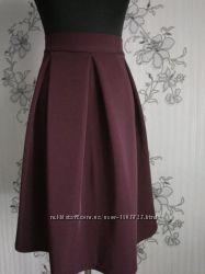 Новая бордовая в складку юбка с костюмки, разные размеры и цвета