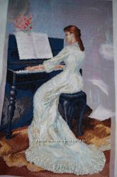 Вышитая картина крестиком Пианистка