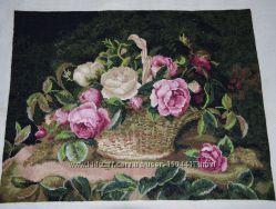 Продам картину вышитую крестиком Розы в корзине