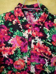 Рубашка, Блузка 100-вискоза в цветочный принт бренда GEORGE