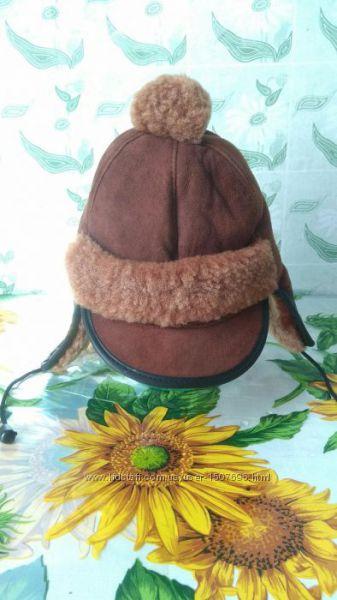 Фирменная детская теплая шапка из натурального меха. 50 - 54 см