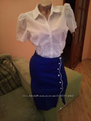 Синяя юбка на пуговицах