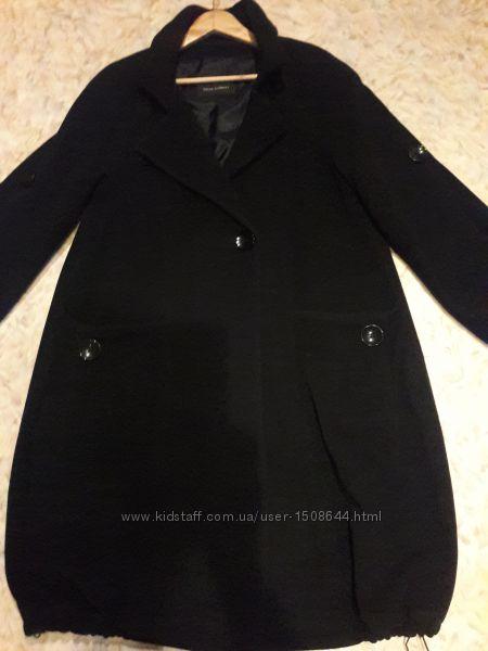 Чёрное качественное пальто оверсайз настоящая шерсть с кашемиром.