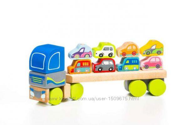 Cubika эко конструктор Деревянный тягач с машинками LМ-12 сортер 12 эл