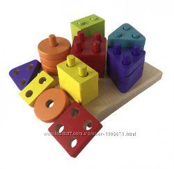 Развивающий деревянный геометрический сортер Cubika, 25 дет эко конструктор