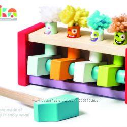 Cubika Левеня деревянная стучалка с молоточком Клоуны-прыгуны