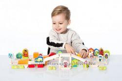 Cubika Деревянный эко конструктор Город для мальчиков, 55 дет. , кубики