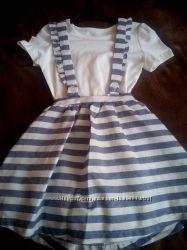 Літній святковий набір для дівчинки, сарафан  футболка фірми Dunnes, 3-4 р