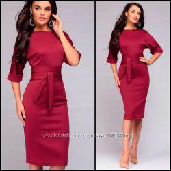 0e54be58b4f Бордовое платье с поясом Afina код 164.
