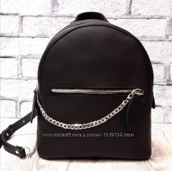 Рюкзак кожаный женский черный матовый Лози