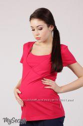 Яркая хлопковая футболка для беременных и кормящих SUSAN