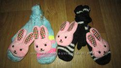 Женские, подростковые рукавички, варежки на флисе зайка