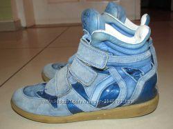 Кожанные высокие деми ботинки, кроссовки, сникерсы р. 33