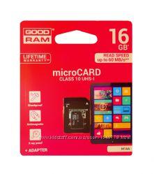 Карта памяти microSDHC GoodRAM 16 GB  class 10  SD адаптер
