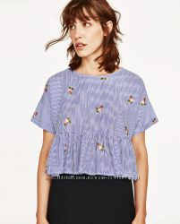 Голубая рубашка в полоску Zara