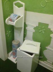 Деревянный набор в ванную, сауну, держатель для бумаги и ведро.