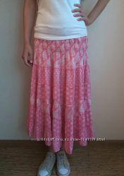 Розовая макси юбка, можно для беременных