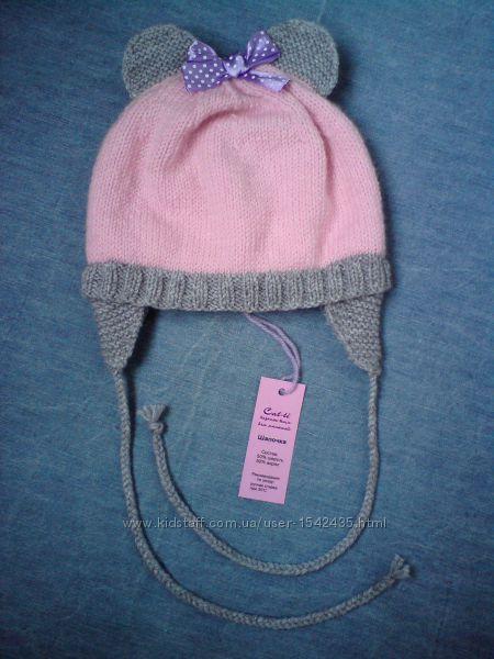 Шапочка с ушками для новорожденной девочки