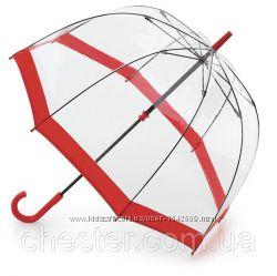 Женский зонт-трость прозрачный Fulton Birdcage-1 L041 Red красный