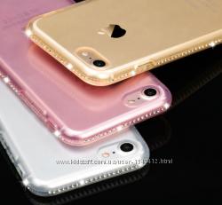 Силиконовый чехол Iphone 5 5S 6 6S 6 7 PLUS c камням Сваровски