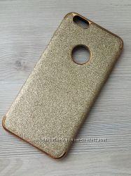 Золотой мерцающий силиконовый чехол iphone 6plus 6S plus