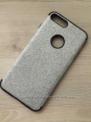 Серебряный мерцающий силиконовый чехол iphone 7plus 8 plus