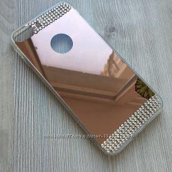 Золотой и розовый чехол со стразами для iphone 7 8