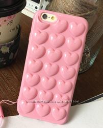 ПоискРасширенный  Силиконовый чехол розовые Сердца для iPhone 6 6S 7 8 7п